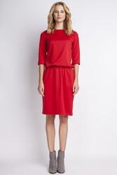 Czerwona urocza i szykowna sukienka z rękawami 34