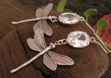 Ważki - srebrne kolczyki z kryształem swarovskiego