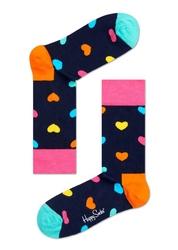 Skarpetki Happy Socks - HA01-067 - granatowe w kolorowe serduszka