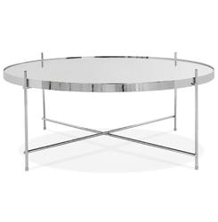 Okrąły stolik kawowy espejo big  srebrny