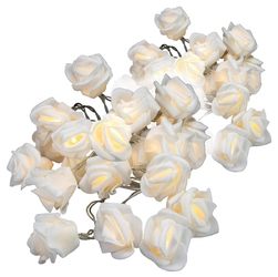Zestaw 2 x 20 led, róże, na baterie, ciepła biel