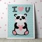 Panda quot;i love youquot; - plakat dla dzieci , wymiary - 60cm x 90cm, kolor ramki - czarny