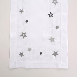 Bieżnik na stół świąteczny boże narodzenie altom design biały  srebrne gwiazdki 40 x 140 cm