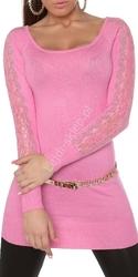 Jasno różowa tunika z dzianiny z kryształkami | tunika z koronka na ramionach, 8077