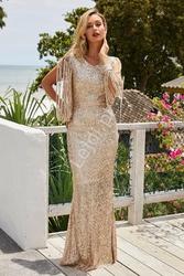 Cekinowa długa złota suknia 992