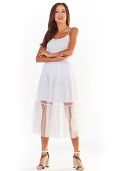 Biała tiulowa rozkloszowana spódnica w groszki