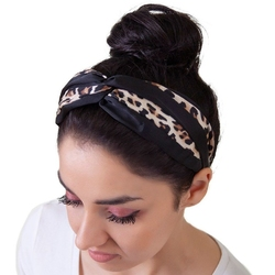 Opaska do włosów beżowa panterka węzeł turban