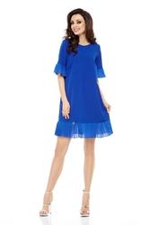 Wizytowa sukienka z ozdobnym plisowaniem - chabrowa