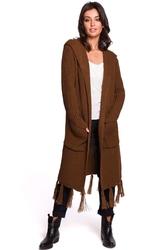 Brązowy płaszczowy kardigan z frędzlami