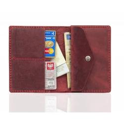 Męski skórzany portfel slim wallet brodrene sw08 czerwony