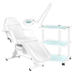 Fotel kosmetyczny 202 basic + stolik kosmetyczny 1040 + lampa lupa led s5