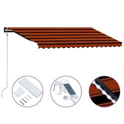 Vidaxl zwijana markiza, led i czujnik wiatru, 400x300 cm, brązowa