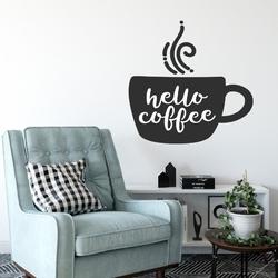Naklejka na ścianę - hello coffee , kolor naklejki - biała, wymiary naklejki - szer. 60cm x wys. 60cm