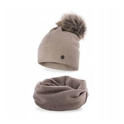 Damski komplet zimowy czapka z pomponem + komin pamami beżowy