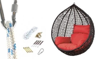 Fotel wiszący bujany kosz huśtawka kokon gniazdo czarny mocowanie