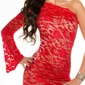 Wizytowa sukienka na jedno ramię z koronki, 361-6