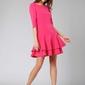 Ciemno różowa prosta sukienka z podwójną falbanką u dołu