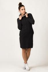 Dresowa dwukolorowa sukienka z golfem kaja ciemnoszara