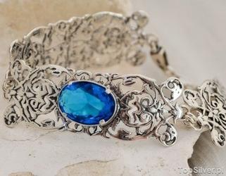 Casablanca - srebrna bransoletka z akwamarynem