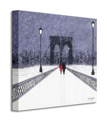 Nighttime stroll across brooklyn bridge - new york - obraz na płótnie