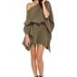 Khaki luźna asymetryczna sukienka z wiązanym paskiem