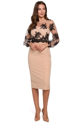 Wieczorowa sukienka ołówkowa z koronkową górą beżowa k013