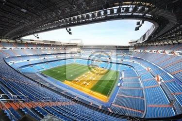 Fototapeta duży stadion z niebieskim trybuny