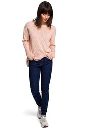 Brzoskwiniowy luźny ażurowy sweter
