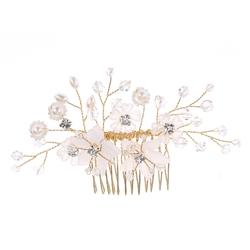 Ozdoba do włosów grzebyk kwiaty koraliki ślubna