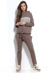 Czekoladowe dresowe spodnie z prostymi nogawkami
