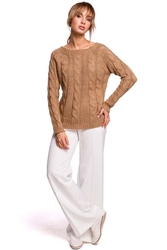 Uniwersalny sweter z warkoczowym splotem - beżowy