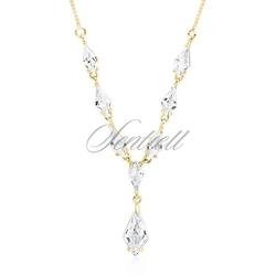 Srebrny, stylowy, ślubny, pozłacany naszyjnik pr.925 z cyrkoniami - żółte złoto