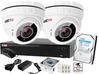 Ip zestaw monitoringu keeyo 5mpx ir 40m motozoom 2 kamery kopułkowe 1tb