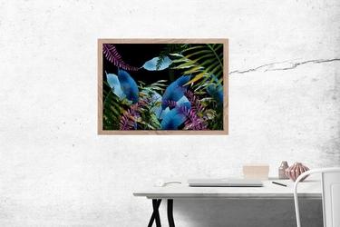 Niebieskie kwiaty - plakat wymiar do wyboru: 80x60 cm