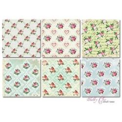 Papier 20,3x20,3 Shabby Chic small roses 18 szt. - SHCS
