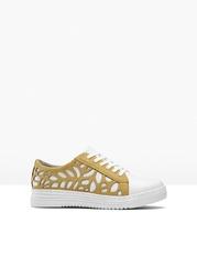 Sneakersy jana, przyjazne dla środowiska, tęgość h bonprix biało-żółty