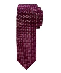 Czerwony jedwabny krawat profuomo ze wzorem