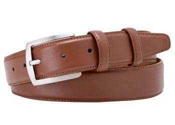Elegancki jasny brązowy pasek skórzany męski 3,5 cm 90