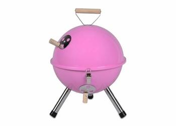 Grill ogrodowy węglowy okrągły, mini grill bbq kolor różowy