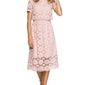 Koronkowa różowa sukienka midi