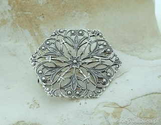 Isolda - srebrna ażurowa broszka