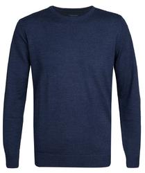 Elegancki niebieski sweter prufuomo originale z delikatnej wełny merynosów z okrągłym kołnierzem s