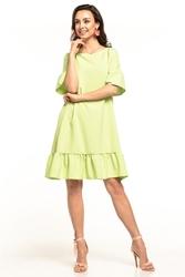 Letnia sukienka midi z krótkim rękawem jasnozielona