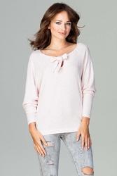 Różowa dzianinowa bluzka w prążek z wiązaniem przy dekolcie
