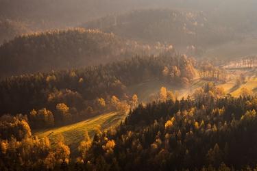 Rudawy janowickie, jesienne wzgórza - plakat premium wymiar do wyboru: 50x40 cm