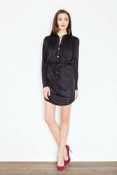 Czarna koszulowa sukienka zapinana na zatrzaski