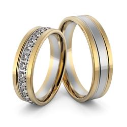 Obrączki ślubne dwukolorowe z brylantami - au-997