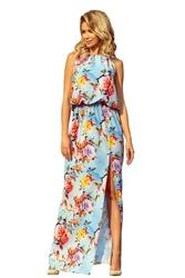Błękitna Długa Sukienka w Kwiaty bez Rękawów