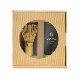 Zestaw herbata zielona matcha w proszku codzienna bio 30 g + miotełka bambusowa chasen - moya matcha