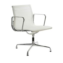 Fotel konf. ch1081t,biała siateczka chromowane
